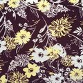 Apparel Knit Fabric 57\u0027\u0027-White & Yellow Sketched Flowers on Purple