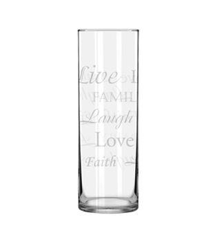 Cylinder Glass Vase 10''-Inspirational Word