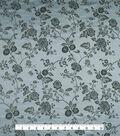 Brocade Fabric -Gray Floral Vine on Light Blue