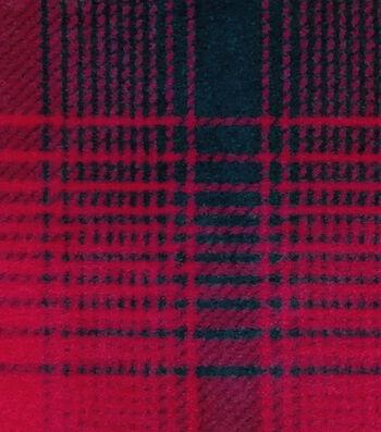 Fleece Fabric-Red & Black Mica Plaid