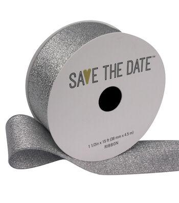 "Save the Date 1.5"" x 15ft Ribbon-Silver Metallic"