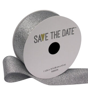 "Save the Date 1.5"" x 15ft Ribbon-Silver Metallic"