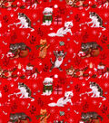 Snuggle Flannel Fabric-Holiday Kitties On Red