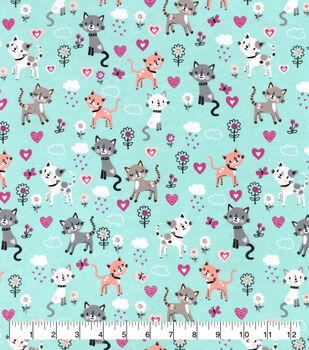Valentine's Day Snuggle Flannel Fabric-Spotted Kitties & Hearts