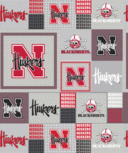 "University of Nebraska Cornhuskers Fleece Fabric 60""-Gray Block, , hi-res"