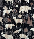 Anti-Pill Plush Fleece Fabric-Black & White Tossed Animals