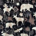 Anti-Pill Plush Fleece Fabric-Black & White Tossed Animals
