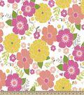 Yellow & Pink Flowers Print Fabric