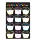 Smart Poly Chart 13\u0022x19\u0022 Chalk Dots with Loops Happy Birthday 10pk