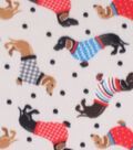 Blizzard Fleece Fabric-Dachshunds in Sweaters & Dots