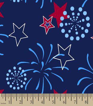 Patriotic Stars & Fireworks Print Fabric
