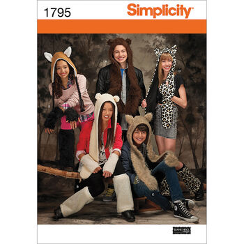 Simplicity Pattern 1795A Adult Animal Hats-Size S-M-L