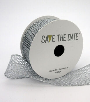 """Save the Date 1.5"""" x 15ft Ribbon-Textured Silver Glitter"""