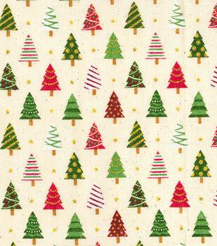 Christmas Osnaburg Cotton Print Fabric -Christmas Tree