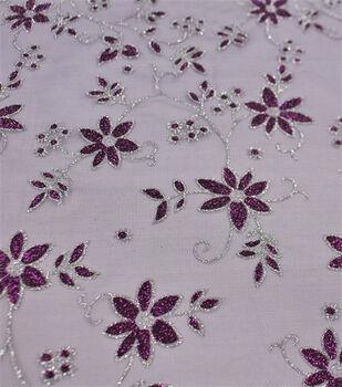 Let's Pretend Mesh Fabric-Purple Glitter Starflowers
