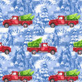 Christmas Cotton Fabric-Red Truck with Pup and Blue Glitter