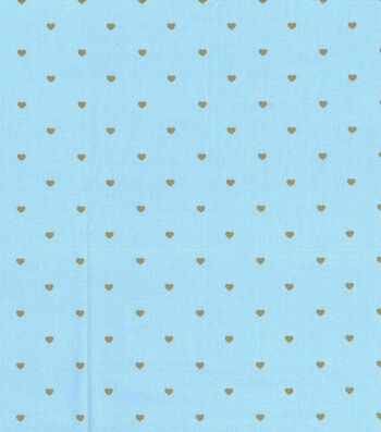 Keepsake Calico Valentine's Day Cotton Fabric-Metallic Hearts on Blue