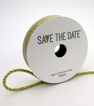 Save the Date Cord Ribbon 4mmx15'-Metallic Gold