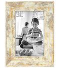 Wood Single Image Picture Frame 4\u0027\u0027x6\u0027\u0027-Fallon White & Gold Rustic Wash
