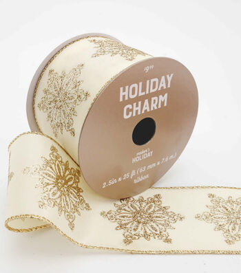 Maker's Holiday Christmas Ribbon 2.5''x25'-Rose Gold Snowflakes on Ivory