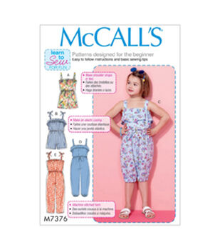 McCall's Pattern M7376 Girls' Blouson Rompers & Jumpsuits