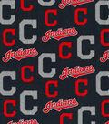 Cleveland Indians Cotton Fabric -Glitter
