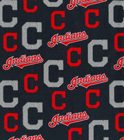"Cleveland Indians Cotton Fabric 58""-Glitter, , hi-res"