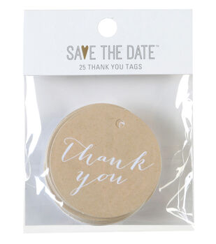 Save the Date 25ct Thank You Tags-Gold