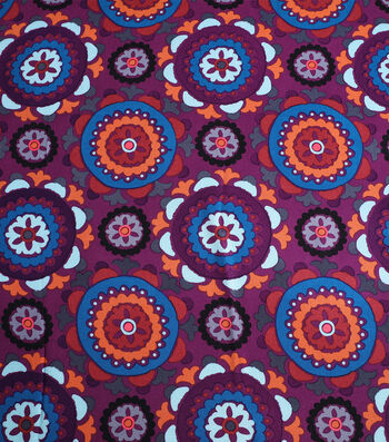 "Silky Crepe Fabric 53""-Purple Multi Kaleidoscope"