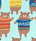 Snuggle Flannel Fabric 42\u0022-I Love Hugs Bear