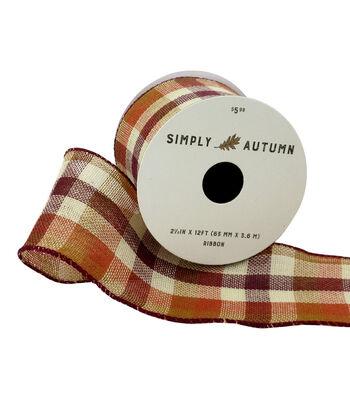 Simply Autumn Ribbon 2.5''x12'-Orange & Burgundy Fall Plaid