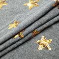 Doodles Sequin Interlock Fabric 54\u0022-Charcoal & Gold Stars