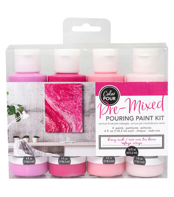 American Crafts Color Pour Pre-Mixed Paint Kit-Berry Rush