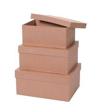 Darice 3 pk Rectangle Paper Mache Boxes