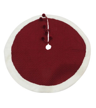 Handmade Holiday Christmas 48''x48'' Knit Tree Skirt-Traditional Red