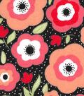 Snuggle Flannel Fabric 42\u0022-Mimosa Daisies Black