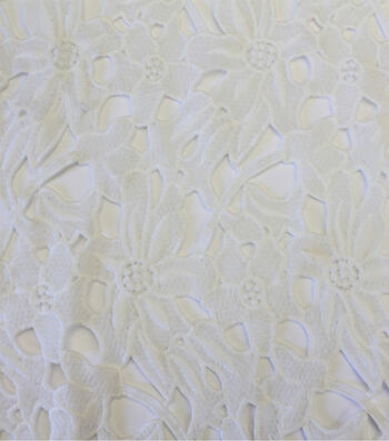 "Spring Sheen Cutwork Lace Fabric 43""-White Floral"