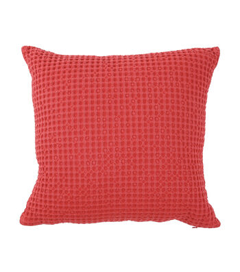 Camp Ann Pillow-Red Waffle