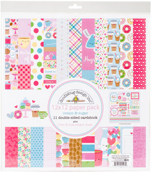 "Doodlebug Double-Sided Paper Pack 12""X12""-Cream & Sugar"