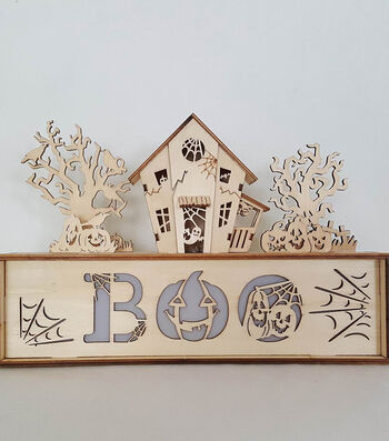 Maker's Halloween Laser Wood- Haunted Scene Boo Light Up