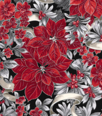 Christmas Cotton Fabric-Poinsettia With Silver Glitter