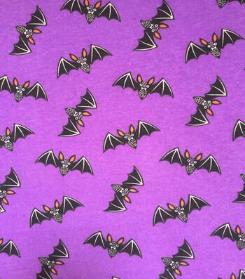 "Halloween Cotton Interlock Fabric 57""-Purple Bats"