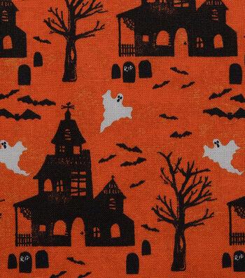 "Halloween Cotton Fabric 43""-Haunted House Orange"