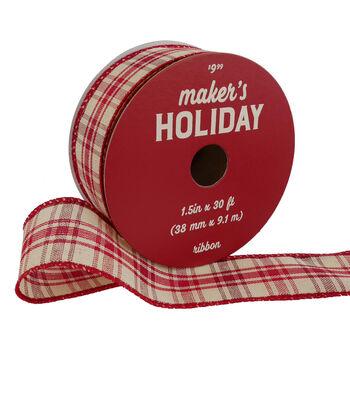 Maker's Holiday Christmas Ribbon 1.5''x30'-Red & Ivory Plaid