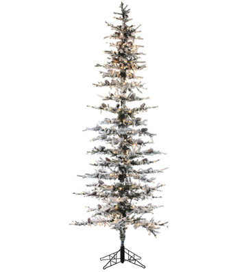 Snow Lodge Pine Slim Tree on Metal Stand with Pinecones & Lights 8'
