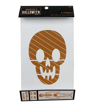 Maker's Halloween Craft 6 pk 6''x10'' Stencils-Skeleton Body