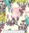 Anti-Pill Fleece Fabric -Spring Birds Branches Postcards