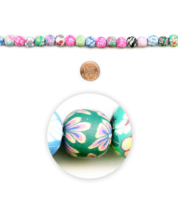 """Blue Moon Beads 7"""" Strand Polymer Clay Round Multi-Prints"""