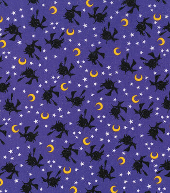 """Halloween Cotton Fabric 43""""-Flying Witches Glitter"""