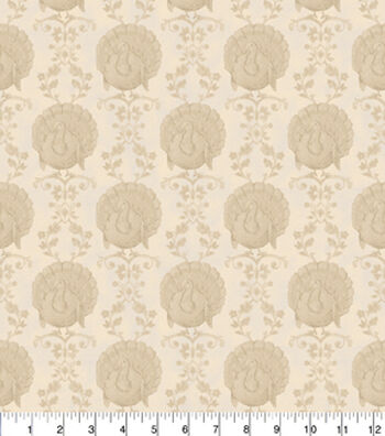 Harvest Cotton Fabric -Tonal Turkeys